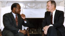 CNN.com Thomas with then-President George H.W. Bush after he appointed Thomas to the Supreme Court