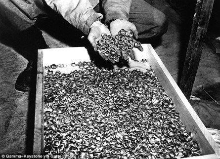 Thieves: The Nazis were known for their hordes of gold, so the story was not implausible. This picture, taken on April 8, 1945, shows American soldier discovering a box full of rings of deportees taken on their arrival Read more: http://www.dailymail.co.uk/news/article-3203511/Poland-looking-report-Nazi-treasure-train-found.html#ixzz4MtqPJMKI Follow us: @MailOnline on Twitter | DailyMail on Facebook