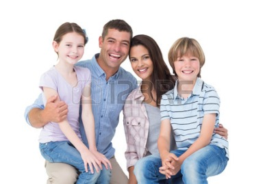 38106325-portrait-of-happy-children-sitting-on-parents-laps-over-white-background