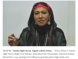 "Vonda Eagle Horse, Oglala Lakota Sioux… ""This is where I, Vonda Eagle Horse, Walks First Woman, Wounded Knee Descendant"