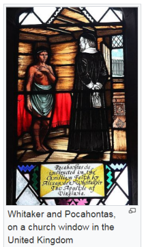 Whitaker and Pocahontas, on a church window in the United Kingdom