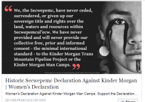 Women's Declaration Against Kinder Morgan Man Camps. Support the Declaration…