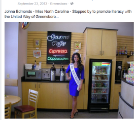 Miss Johna Edmonds Miss North Carolina 2013 Stopped by Booklovers Shop Greensboro Public Library.1