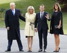 Melania Trump and France's first lady Brigitte Macron