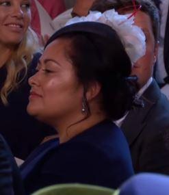 Tonga Sister wearing earrings at Royal Wedding...