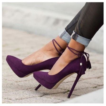 Women's Purple Stiletto Heels Pointy Toe Tassels Ankle Strap Pumps
