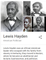 lewis hayden was an african-american leader who escaped with his family from slavery in kentucky; they moved to boston, where he became an abolitionist and lecturer, businessman,