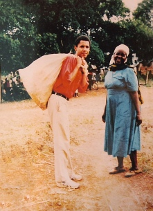 KOGELO, KENYA - JANUARY 12: A family photograph of Barack Obama standing with his step-grandmother Sarah Obama on a 1987 visit to Kenya stands on a table on January 12, 2008 in Kogelo, western Kenya. Barack Hussein Obama, father of Senator Obama was born and raised in Kogelo. He died in a car accident in 1982. Senator Barack Obama's parents separated when he was young. (Photo by Peter Macdiarmid/Getty Images)