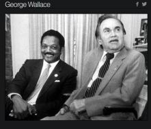 Alabama Gov. George C. Wallace, right, is shown at the Governor's Mansion in Montgomery with a meeting between presidential hopeful Rev. Jesse Jackson in this July 21, 1987 photo. In the 1980s he renounced his segregationist views