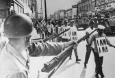 Civil Rights, U,S,A, pic: 30th March 1968, Memphis, Tennessee, Guardsmen with fixed bayonets in Beale Street, Memphis as black marchers stage a protest march (Photo by Rolls Press/Popperfoto/Getty Images)