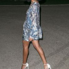 Solange wearing German Shoe Designer Stuart Weitzman nudist Sandal.2