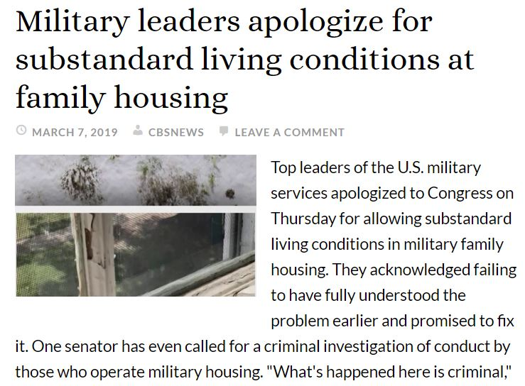 Military leaders apologize for substandard living conditions at family housing